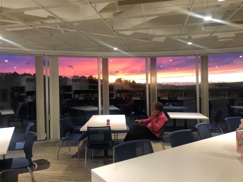 sunset in the office